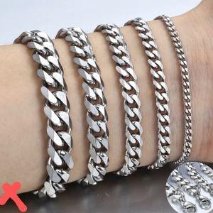 "Silver Stainless Steel 11MM Curb Cuban Bracelet 9"""